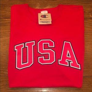 RED U.S.A CHAMPION T-SHIRT (LARGE)